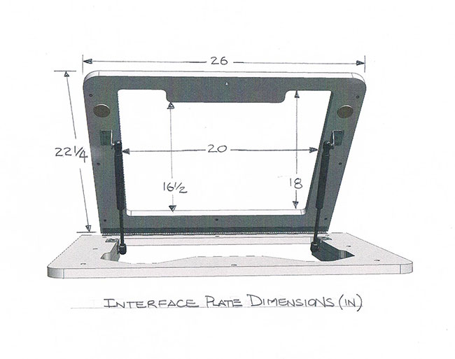 Dowelmax router table lift interface plate dimensions.