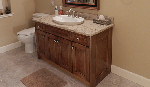 Bathroom vanity cabinet refaced in this instructional article.