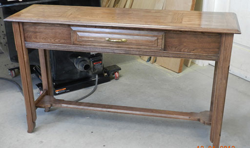 Photograph of hall table build for project instructions page.