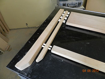 photo of triple work piece leg to insert to rail dowel joint used to build the project gallery end table front frame assembly