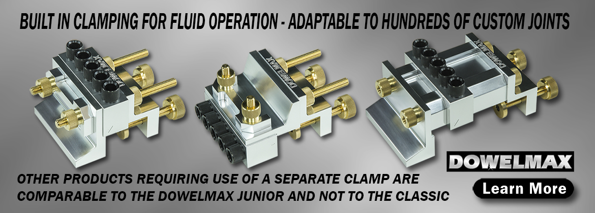 Multiple Configurations of Dowelmax Classic Dowel Jig System Adaptable to Hundreds of Custom Wood Joint Applications